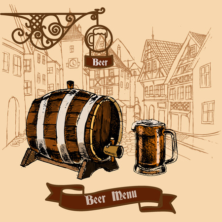 beer house: Vintage style cast iron advertisement bar board menu banner with barrel foamy mug sepia sketch vector illustration