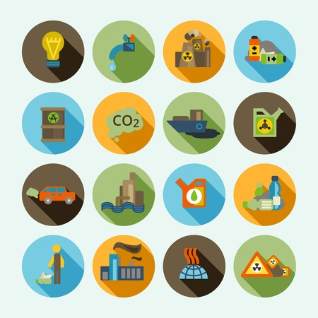 contaminacion del agua: Contaminaci�n del aire difuso t�rmica iconos s�lida sombra de emisiones para autom�viles y la refiner�a de petr�leo de desecho conjunto aislado ilustraci�n vectorial