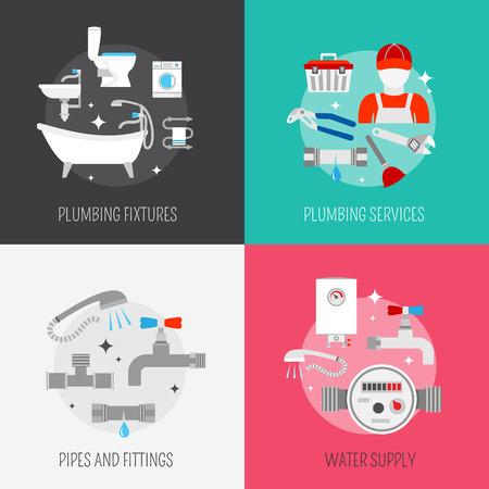 Kit de limpieza de tuberías de tuberías y el servicio de reparación de calefacción y desagüe del fregadero iconos planos aislados composición vectoe ilustración Ilustración de vector