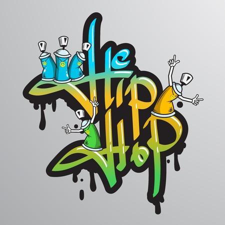 Graffiti spray kan gekke personages hiphop muzikale cultuur druilerige lettertype tekstcompositie abstract grunge vector illustratie