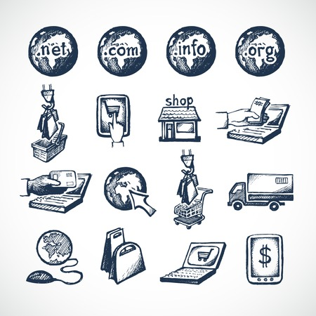 paying: Business internet online shopping icons set of store domains product purchase paying and global delivery sketch vector illustration Illustration