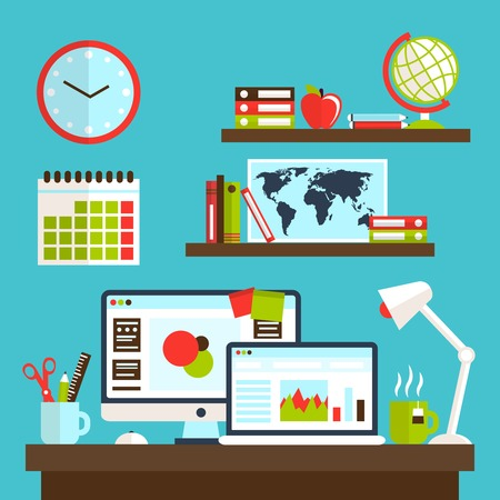 workstation: Office workstation with personal computer lamp and stationery vector illustration Illustration