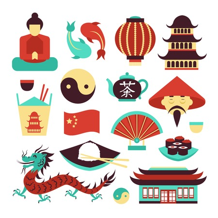 chinese flag: China travel asian traditional culture symbols set isolated vector illustration Illustration