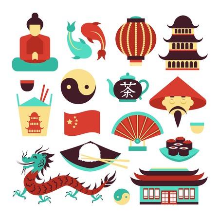 Reizen China Aziatische traditionele cultuur symbolen set geïsoleerd vector illustratie