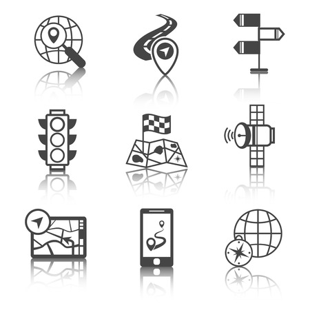 Mobile gps route navigation and travel black and white icons set isolated vector illustration Illustration