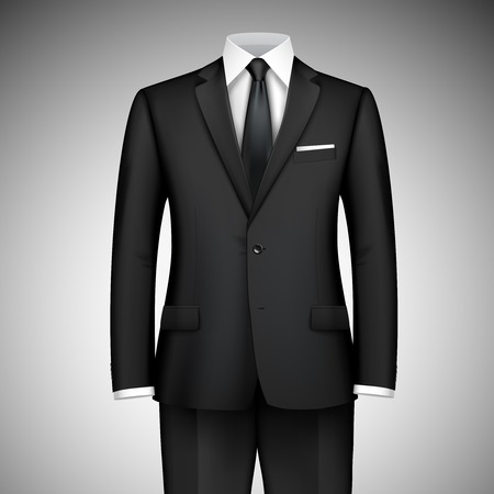 Black modern style boss businessman classic office suit with shirt and tie vector illustration Vector