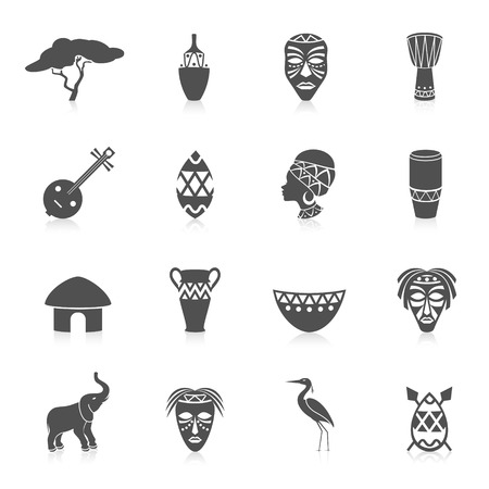 african mask: Africa jungle ethnic culture travel icons set black isolated vector illustration