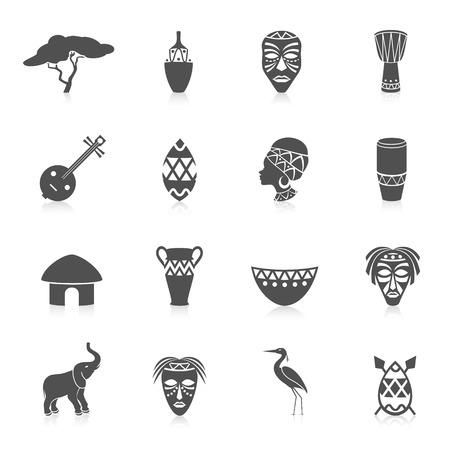 Iconos de viajes cultura selva étnica África conjunto aislado negro ilustración vectorial