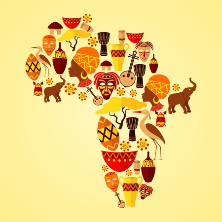 africa continent: Africa continent jungle ethnic tribe travel concept vector illustration
