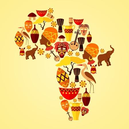 continente africano: Africa continente selva viajes étnica tribu concepto de ilustración vectorial