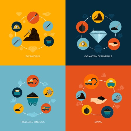 camion minero: Miner�a y extracci�n de minerales composici�n iconos plana ilustraci�n vectorial