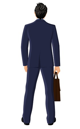 Businessman with briefcase full length back view portrait isolated on white background vector illustration