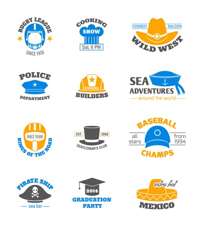 Hats and cap professions stamps set isolated vector illustration Vector