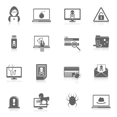 computer hacker: Hacker and computer security protection technology black icons set isolated vector illustration Illustration