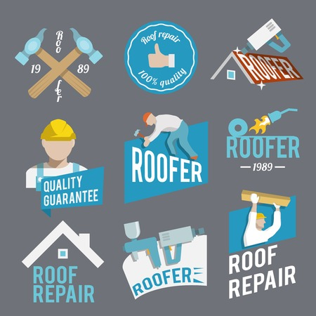 Roofer construction worker tradesman house builder icons set isolated vector illustration Vector