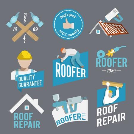 roofer: Roofer construction worker tradesman house builder icons set isolated vector illustration Illustration