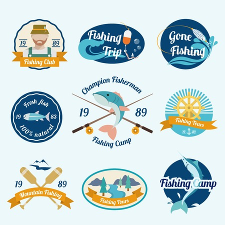 Fishing trip camps clubs outdoor tours label set isolated vector illustration Vector