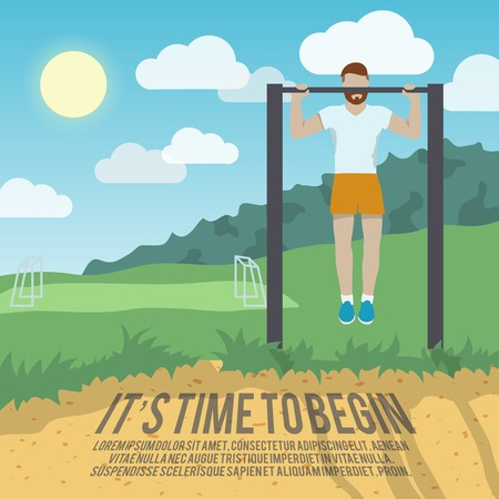 healthy lifestyle: Man do workout on pull-up bar outdoor fitness lifestyle time to begin poster vector illustration