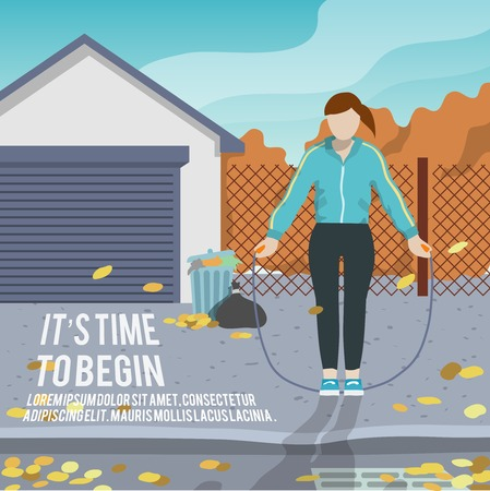 begin: Woman with jump rope outdoor fitness lifestyle time to begin poster vector illustration