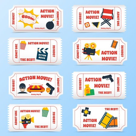 Action movie film cinema professional production tickets set vector illustration