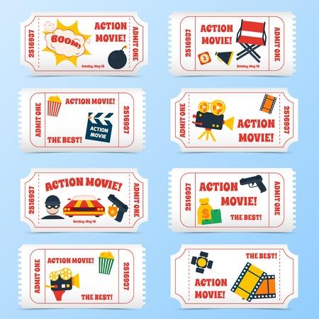 Action movie film cinema professional production tickets set vector illustration
