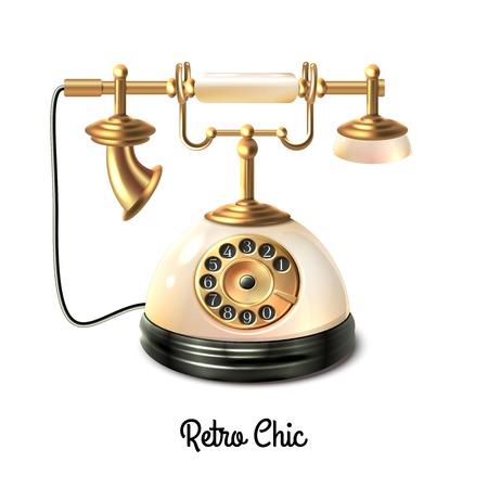 telefono antico: Stile retrò telefono antico con connessione a filo isolato su sfondo bianco illustrazione vettoriale