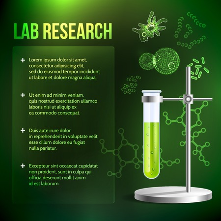 ameba: Bacteria and virus lab research background with test tube vector illustration