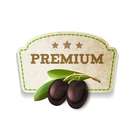 Black vegetable organic food olives kitchen carton badge isolated on white background vector illustration Vector