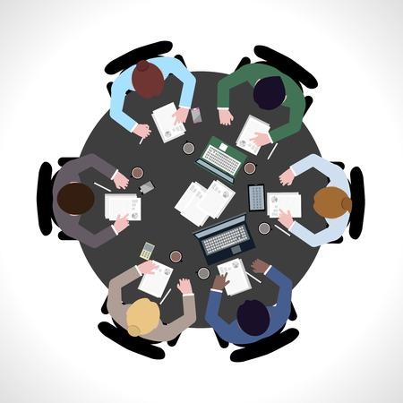 bovenaanzicht mens: Business team bijeenkomst begrip bovenaanzicht mensen op tafel vector illustratie