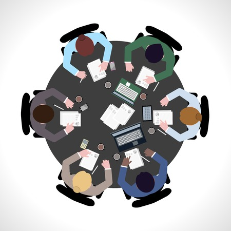 workday: Business team meeting concept top view people on table vector illustration