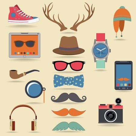 Hipster character pack design elements with moustaches and accessory isolated vector illustration Vector