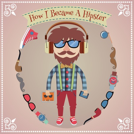 Hipster boy poster with geek design elements vector illustration Vector