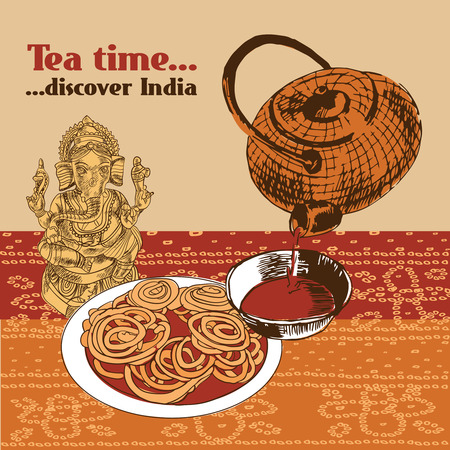 tea ceremony: Classical spicy tea time cake and elephant headed god symbol discover india poster with teapot vector illustration Illustration