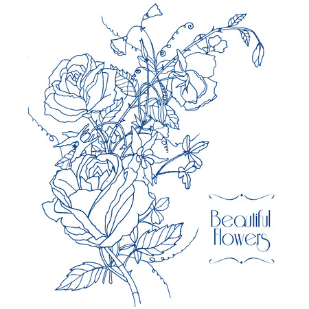 sweet pea: Beautiful roses aquilegia and sweet scented pea cottage garden flowers bunch bridal card outline sketch vector illustration