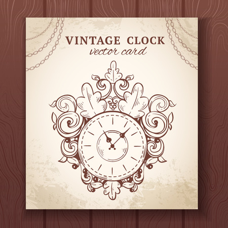 second hand: Old vintage retro sketch wall clock with decoration paper card vector illustration