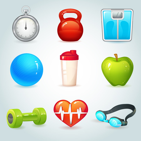 Sport and fitness realistic icons set isolated vector illustration Vector