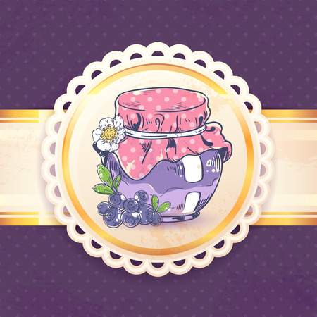 canned: Homemade blueberry jam can retro background with paper badge vector illustration
