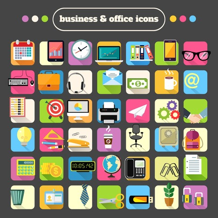 organization design: Business office stationery supplies flat icons set for website design or infographics isolated vector illustration