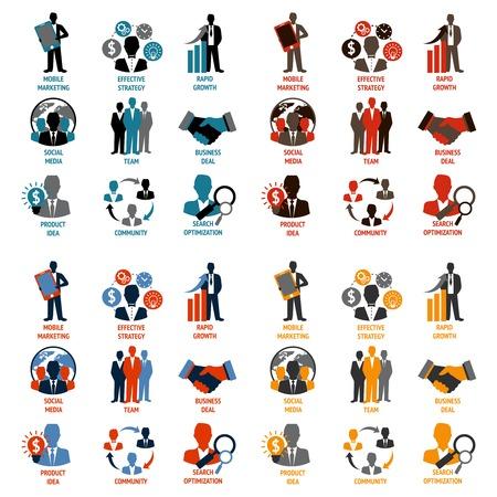 dirección empresarial: Hombres de negocios reunidos gerencias iconos conjunto de idea de producto de optimización de búsqueda comunidad aislada ilustración vectorial