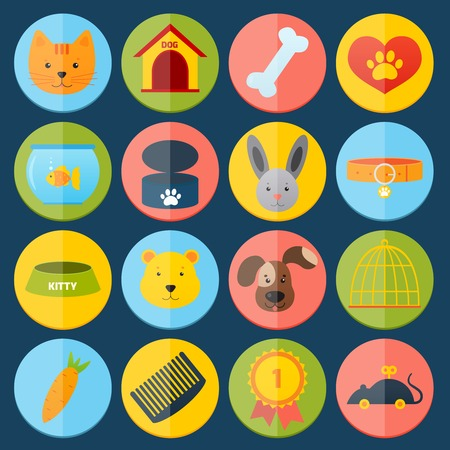 Pets icons set with cat dog fish rabbit isolated vector illustration Vector