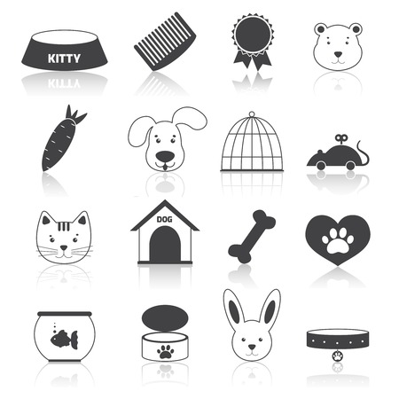 Pets icons set black with animal care pictogram isolated vector illustration Vector