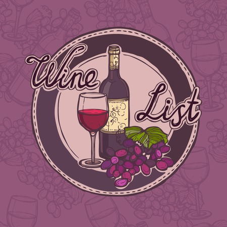 Restaurant wine list sketch menu template with bottle glass and grape branch vector illustration. Vector