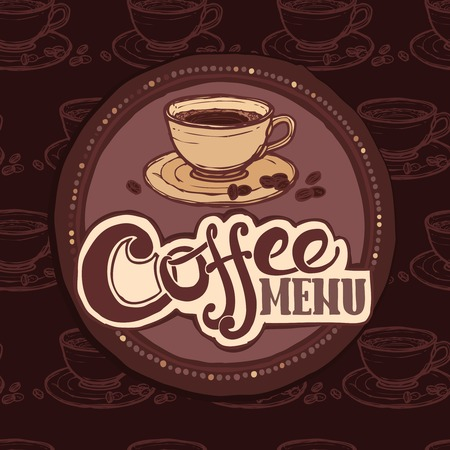 Restaurant cafe sketch menu template with coffee cup and beans vector illustration. Vector