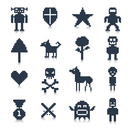 Video game cartoon pixel avatar characters black icons set isolated vector illustration. Vector