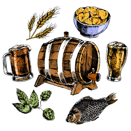 barley hop: Beer icons set with oak barrel hop malted barley grain and snacks colorful pictograms isolated vector illustration Illustration