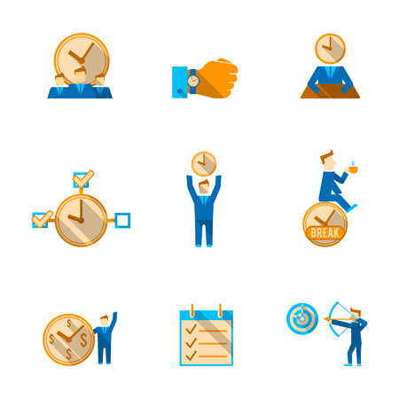 achieving: Effective goals achieving  time management to do list with watch clock  flat icons set isolated vector illustration Illustration