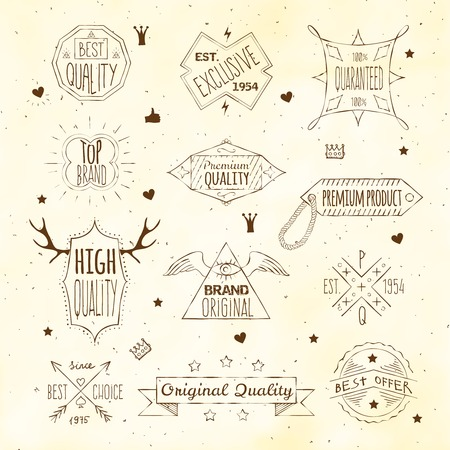 heart with crown: High quality premium products retro vintage  trade brands emblems labels set doodle sepia sketch isolated vector illustration Illustration