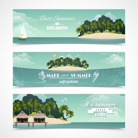 Tropical island best summer holidays horizontal banner set isolated vector illustration Illustration