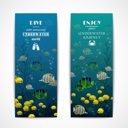 Scuba diving vertical banner set with fishes underwater isolated vector illustration