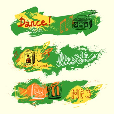 music dj: Grunge sketch paint art music banners set isolated vector illustration